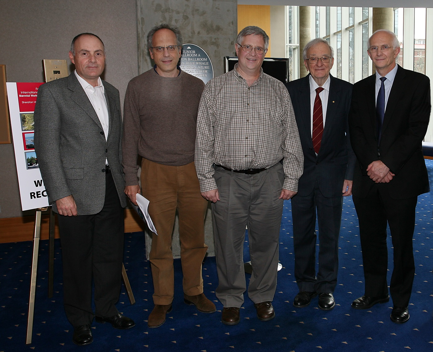 The first IAHA (HI) meeting, in Vancouver, 2011. Left to right: Sam Krickler (Canada), Alberto Piperno (Italy), Bob Rogers (Canada), Laurie Powell (USA), Pierre Brissot (France-EFAPH).